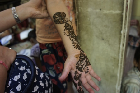 Henna on a girl's arms