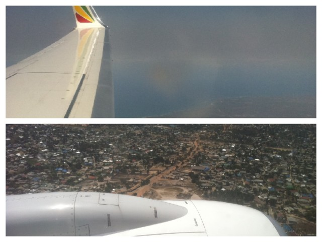 Landing in Dar es Salaam. Notice the Indian Ocean in the top photo.