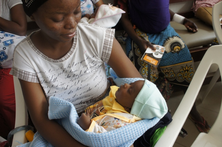Mother and son at a family planning class at Salasala Dispensary, right outside of Dar es Salaam, Tanzania
