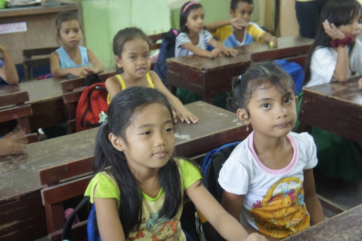 Schoolgirls in a school in Dulag, Leyte, Philippines